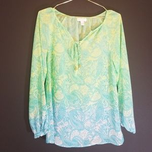 Charter Club xs boho lime gree and blue paisley xs